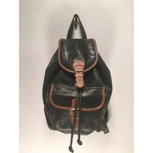 Handbags - Leather Black & Brown Drawstring Mini Backpack💖💫